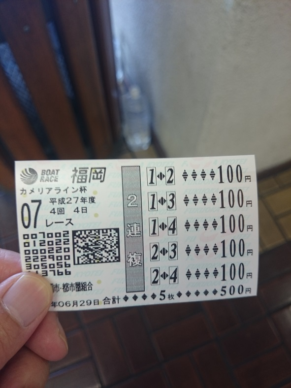 福岡競艇舟券7レース