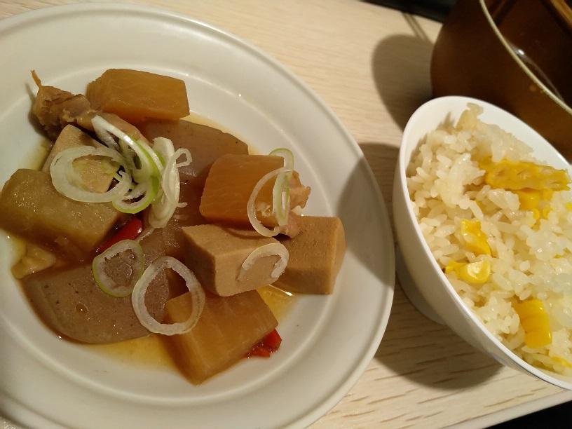 トウモロコシご飯と鶏煮
