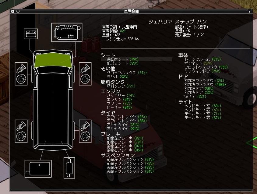 プロジェクトゾンボイドの車両整備画面3